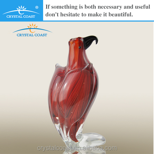 hand blown murano small red bird glass figurine