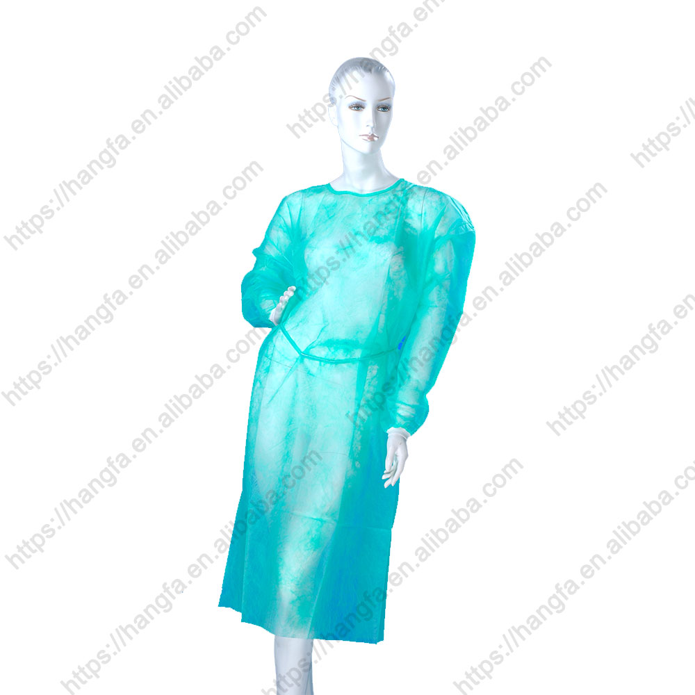 cheap green disposable isolation surgical gown for hospital