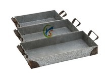 Large size galvanized metal serving tray