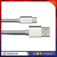 2016 nylon thread + metal micro USB plug 3.1 C data type synchronous charging cable for type C