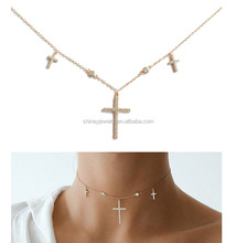 Sterling Silver 925 factory 2017 summer rhodium chocker choker cz cross charm necklace