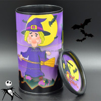 ABS Halloween Cylinder Pen Desktop Candy Container with Rotatable Patterns and PP Top Cover