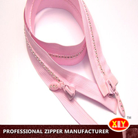 Plastic Stopper Garment Cable Zip Decorative Rhinestone Zipper for bags