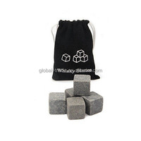 9pcs Whisky Ice Stones Drinks Cooler Cubes Whiskey Scotch Rocks Granite & Pouch H0083