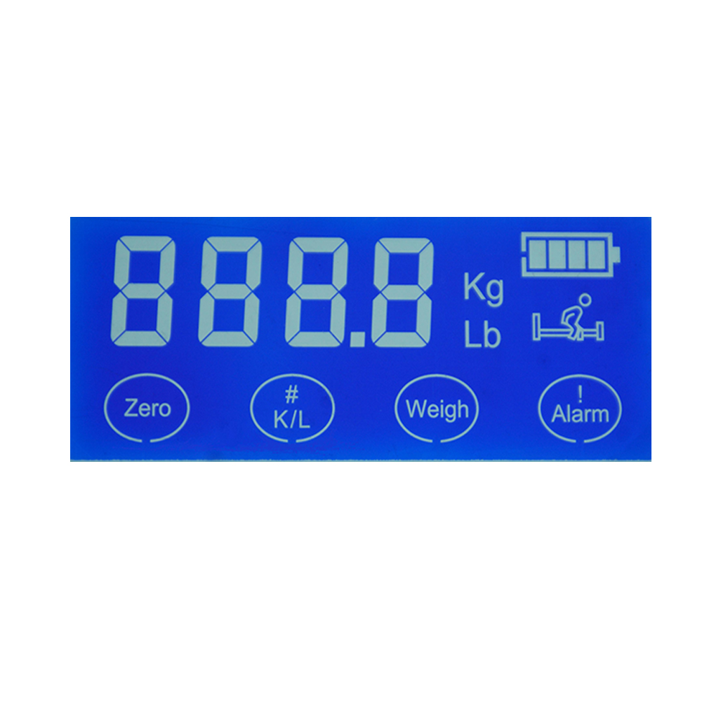4 digit 7 segment mono custom size touch lcd screen for weighing scale