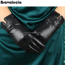 2017 Top Fashion Goatskin Solid Genuine Leather Gloves Women Wrist Fur Adornment Winter Sheepskin Glove