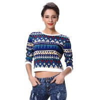 Wholesale Latest Printing Tops 3/4 Long Sleeves Plain Crop Tops
