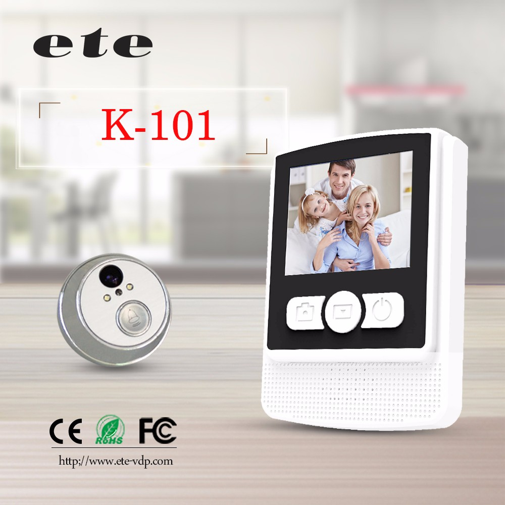 White 2.4 inch wireless camera wifi doorbell digital door peephole viewer