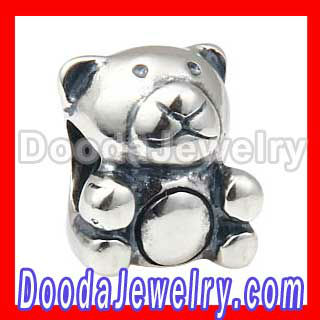solid Sterling Silver Teddy Bear Charm Beads Wholesale