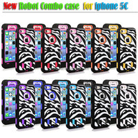Zebra Combo Silicone Impact Cover Hard White PC Box Case for iPhone 5C