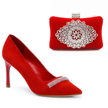New Bag match shoes Sexy ponited toe red kid suede Rhinestone high heel pumps