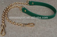 118CM Green Leather Bag Handle With Metal Chain