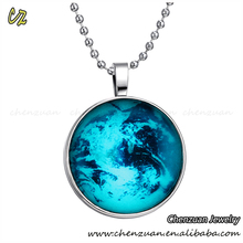 Fashion Ladies handmade crafts Glow in the dark Jewelry Glass Cabochon Luminous necklace