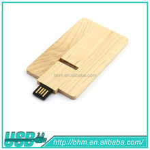 full capacity wooden credit card shape USB flash drive fashion memory card gift pen drive