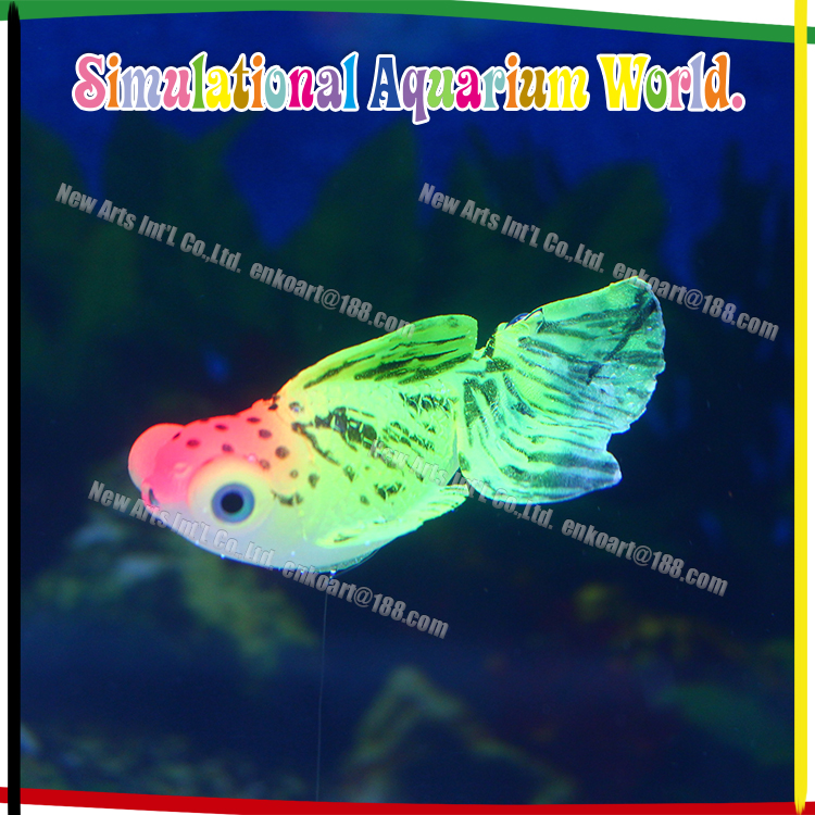 Artificial floating gold fish ornament fluorescent and glowing in the dark decoration for aquarium