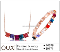 OUXI 2015 Fashion energy necklace jewellery artificial necklace sets S-2028