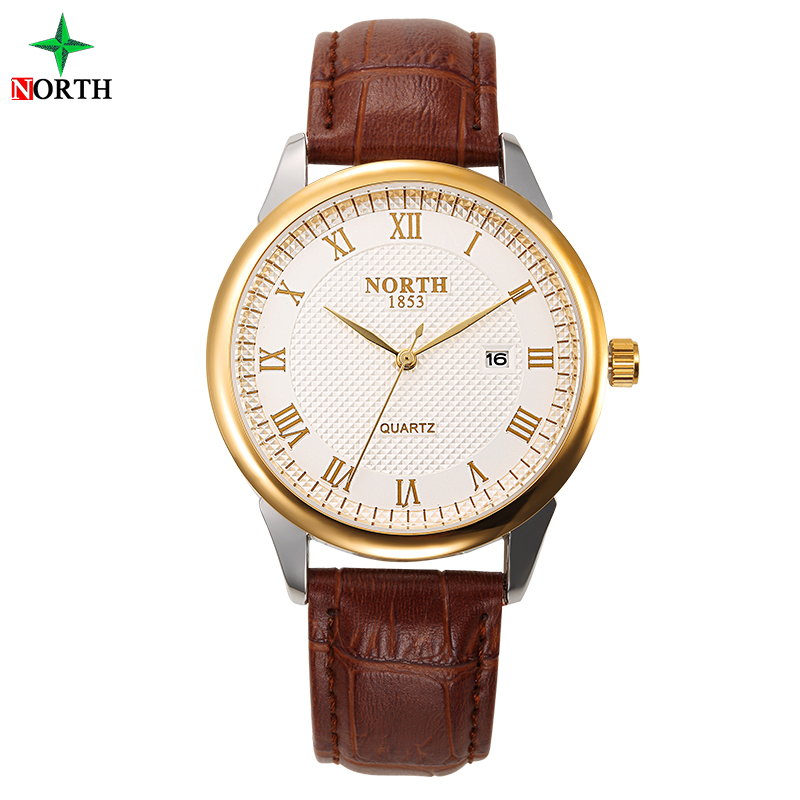 Wholesale NORTH Brand Leather Strap Water Resistant Men Casual Watch