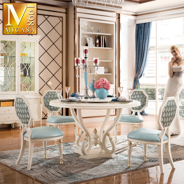Luxury European Style Dining Room Set Wooden Dining Room Diner Table Set Antique White Dining Room Furniture Table Sets