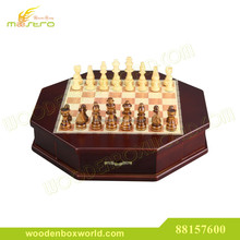 Deluxe Octagonal Wooden Chess Set Box
