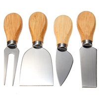 4Pcs Cheese Knives Set Bard Oak Handle Knife Kit Kitchen Cooking Tools Useful Accessories New Arrival