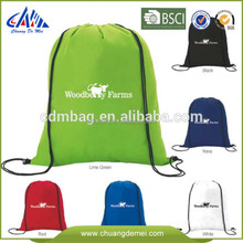 Customized recycle foldable shopping bag polyester promotional shoe bag sports drawstring bag
