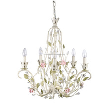 5 arms wedding romantic ceramic rose hanging chandelier roof lighting