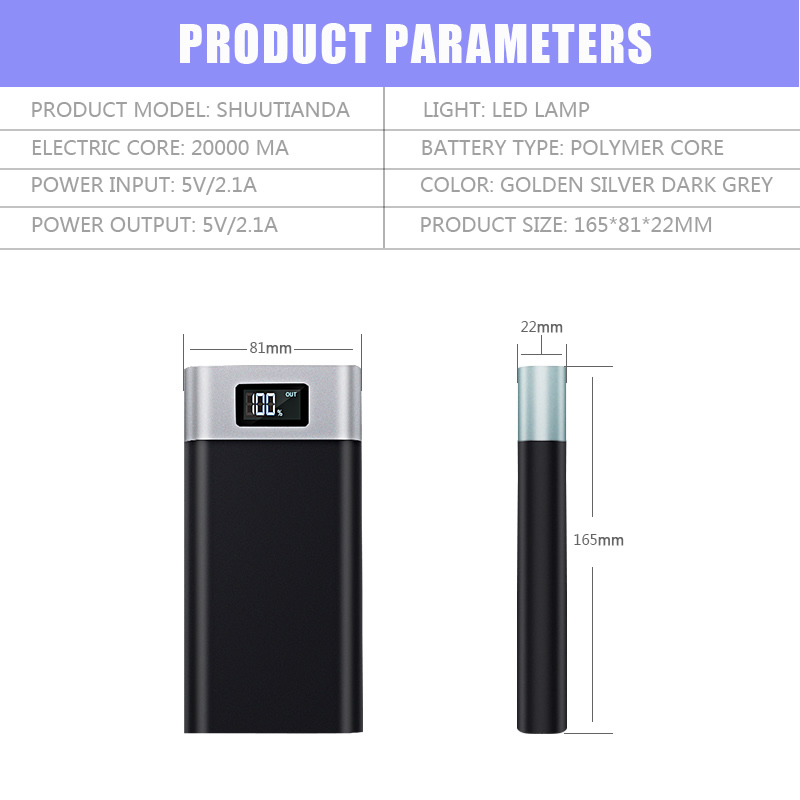 High quality power bank 22000mah dual USB battery for mobile phone powerbank with digital led battery indicator display