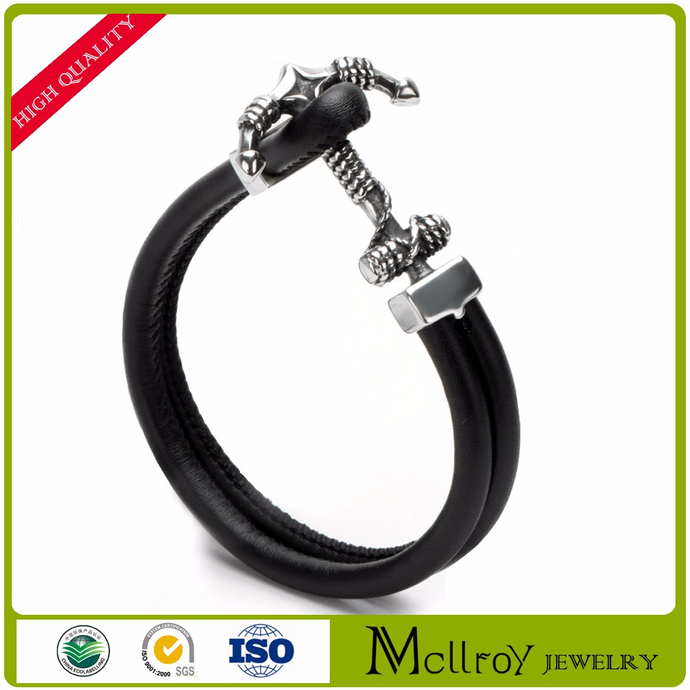 2017 fashion new bracelet black cowhide braided leather bracelet with titanium steel boat anchor bracelet