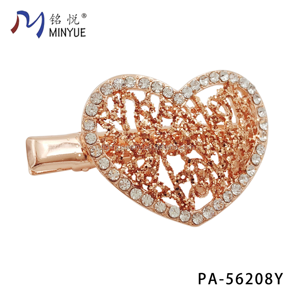 Hollow heart shape rose golden crystal golden hair accessories clip