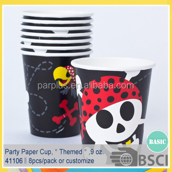 Pirate Themed Birthday Paper Party Cups