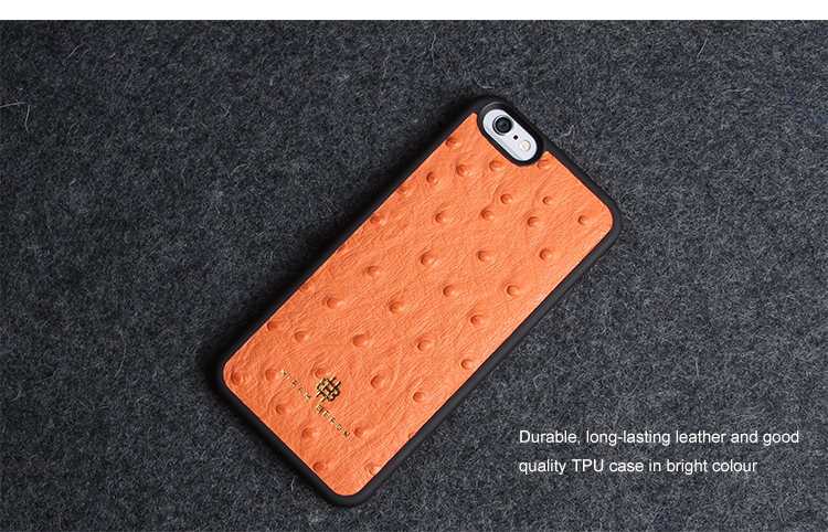 Cell Phone back cover for iphone 6/6s with orange ostrich print cow leather small quantity accepted