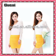Sexy Women A-Line Mini Skirt Pleated Seamless Stretch Tight Fitted Bodycon Dress Sexy Women In Short Mini Skirts