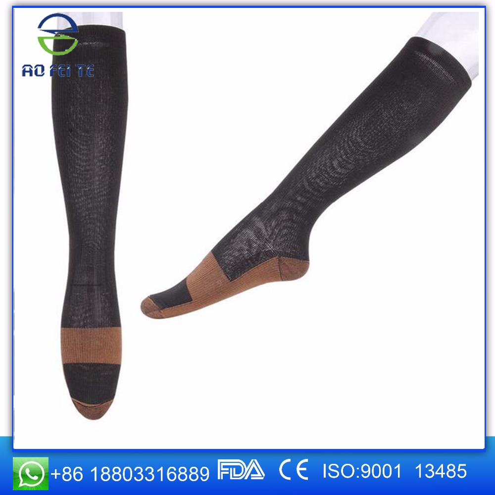 2017 New High Quality Products New Sports Fitness Copper Compression Socks Spandex Polyamide Running
