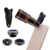 Wholesale discount universal 4 in 1 cell phone accessories telephoto/ wide angle/ macro/ fisheye zoom lens kit for iphone