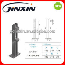 stainless steel double flat bars glass spigot/clamp