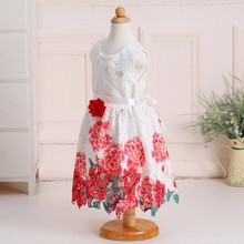 4-10 Years Old Summer Dress Kids Clothes Cotton Casual Wear Child Flower Print Frock L-110