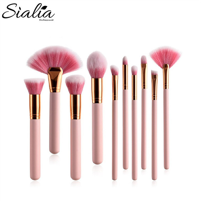 Sialia Pink 10pcs Makeup Brush Set Foundation Eye Shadow Powder Makeup Brushes
