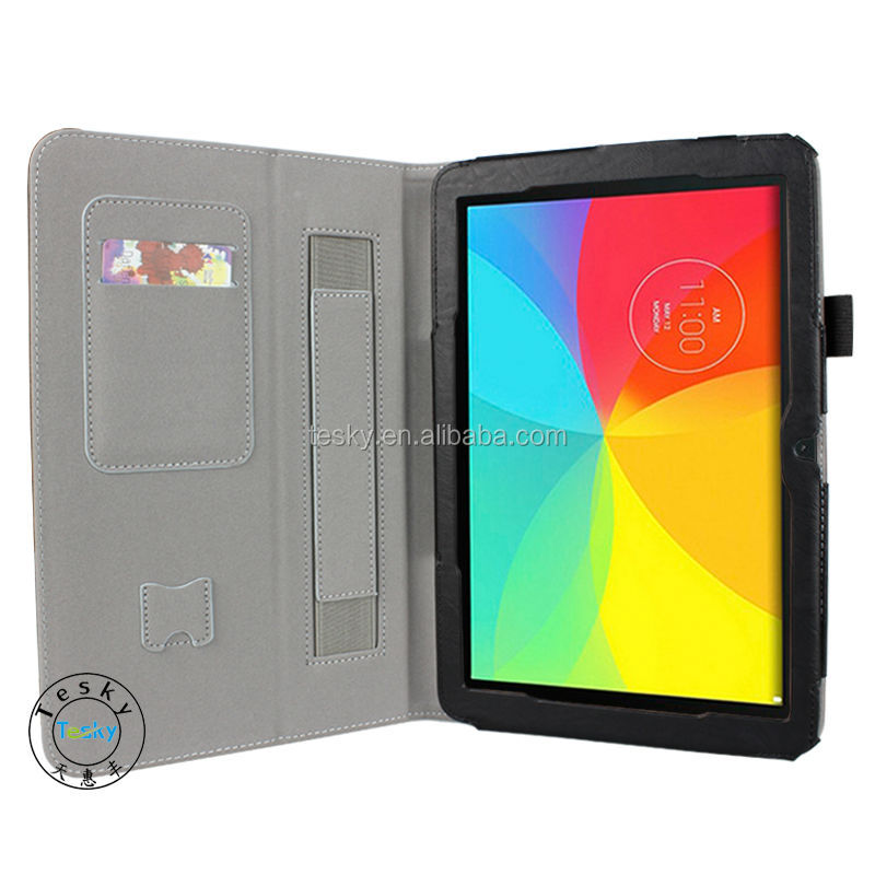 2014 new design case with hand strap wallet leather with stand smart cover case for lg g pad 10.1 v700