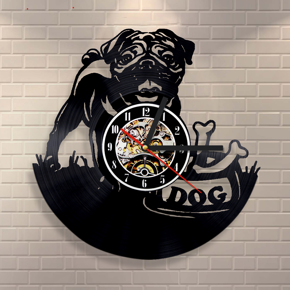 OEM Dropshipping Cute Dog Classic Wall Clock Laser Engerved Vinyl Record Clock Timepiece Animal Decorative Clock Modern Design