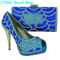 Fashion Blue High Heel italian shoes and bags to match women,ladies shoes and matching bags for Nigeria Wedding (IT042)