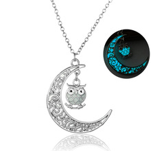 Fashion Owl Crescent Moon Necklace Glow In The Dark Necklace Luminous Jewelry