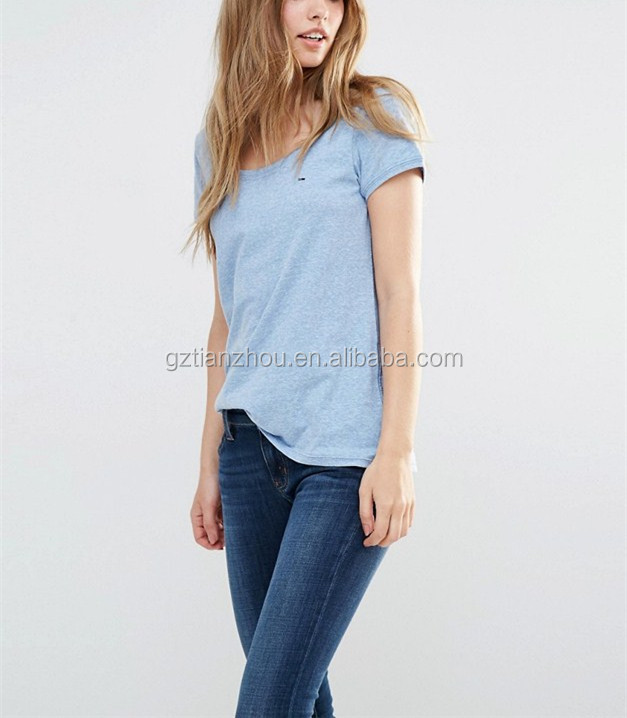 Hot Summer Fashion Blank Light Blue Denim Classic Scoop Neck T-Shirt Short Sleeve Women T Shirt