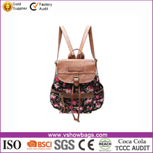 lowest price wholesale flower canvas top quality brand school bag for high school girls