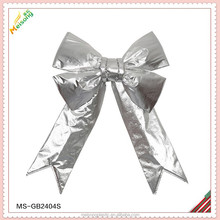 silver glitter metallic fabric giant butterfly bow for christmas decoration