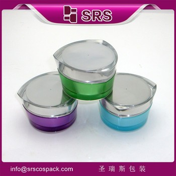 Made in China Cosmetic Acrylic Cream Jar Packaging , Unique Heart Shape Empty Cosmetic Jar 30g 50g