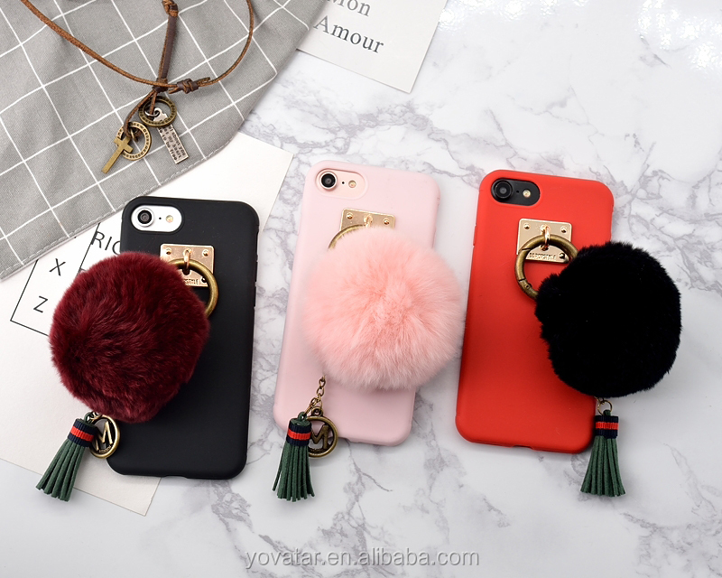 Winter lovely desgin Rabbit Plush/Hair Ball and Soft TPU Candy Color phone Case for iPhone 7 winter case
