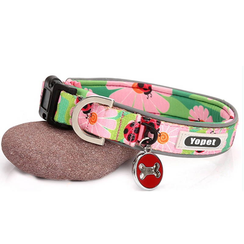 Fashion Pet Products Personalized Custom Private Logo Plain Nylon Neoprene Dog Collars With Charm For Wholesale