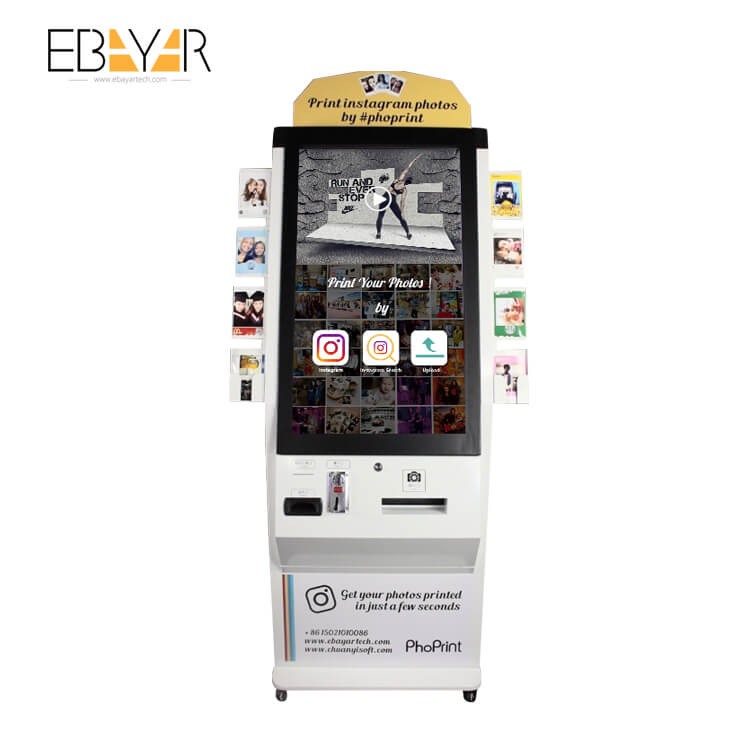 ticket printer touch screen kiosk slim Autoplay shopping mall advertising touch screen kiosk wireless