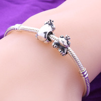 Wholesale European Silver Oxidized Animal Charms 925 Sterling Silver Frog King With Crown Charm For Snake Bracelet DIY Jewelry