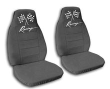 2 charcoal racing car seat covers for a 2000 Honda Civic.